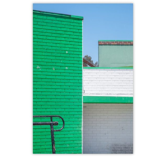 Green wall with green stripes