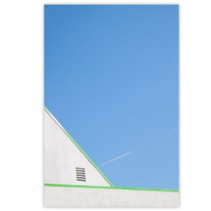 Thin green lines in front of blue sky
