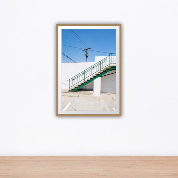 Green stairs with cable lines